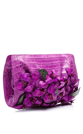 Magenta Bougainvillea Clutch by NANCY GONZALEZ for Preorder on Moda Operandi