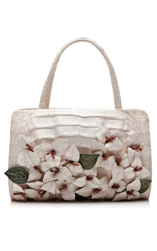 Medium nancy gonzalez white white bougainvillea handbag