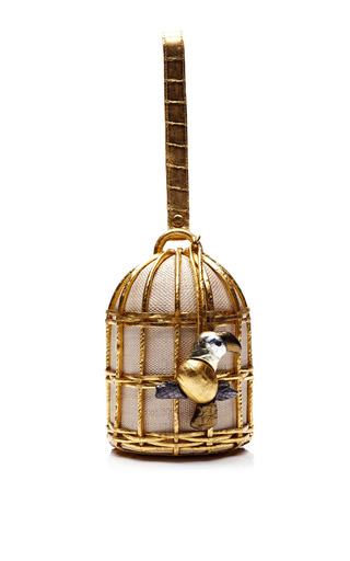 Medium nancy gonzalez gold gold birdcage clutch