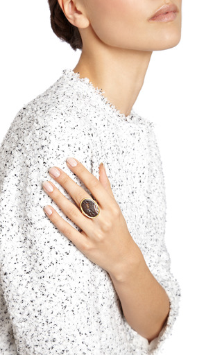 Antique Carved Warrior Agate And Gold Intaglio Ring by SIMON TEAKLE for Preorder on Moda Operandi