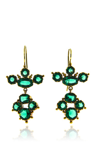 Medium simon teakle green regency paste earrings