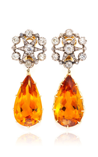 Medium simon teakle gold antique 2 in 1 citrine and diamond earrings