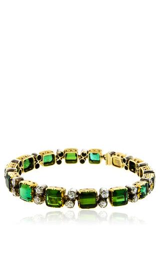 Medium simon teakle green tourmaline and diamond single line bracelet