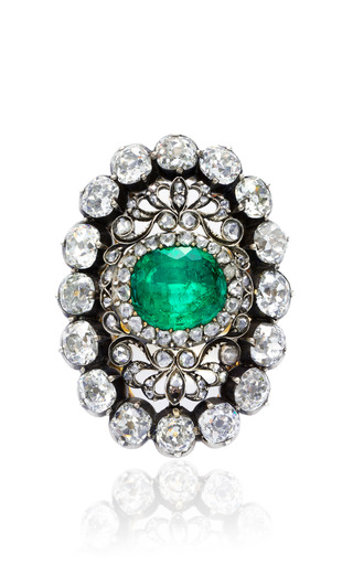 Antique Emerald And Diamond Ring by SIMON TEAKLE for Preorder on Moda Operandi