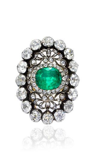 Medium simon teakle gold antique emerald and diamond ring