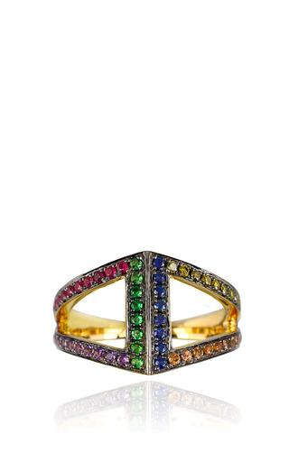 Medium noor fares multi rhombus pinkie ring in 18k gold set with various stones