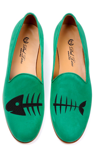 Medium del toro green fish bones loafer