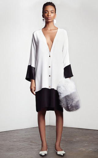 White And Black Cabana Cardigan by HARBISON for Preorder on Moda Operandi