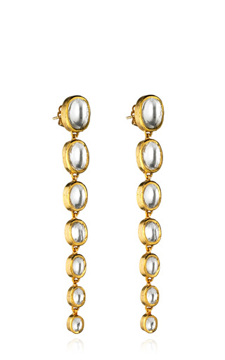 Medium madhuri parson gold one of a kind 18 karat single strand rock crystal earrings