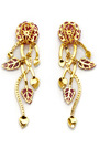 One Of A Kind Carved Tourmaline Florets & Leaves Diamond Earrings by MADHURI PARSON for Preorder on Moda Operandi
