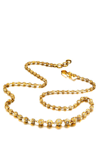 Medium madhuri parson gold one of a kind diamond cut yellow gold ball drops short necklace