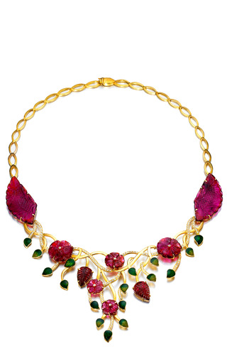Medium madhuri parson pink one of a kind natural carved tourmaline diamond bib necklace