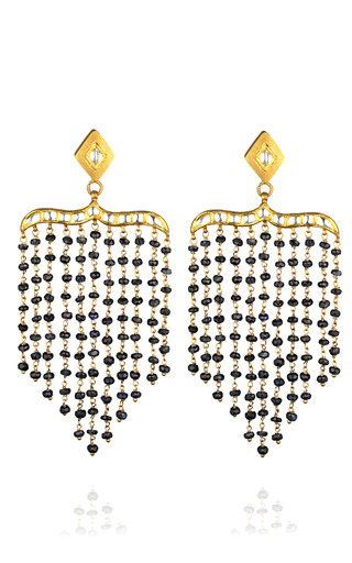 One Of A Kind T Shape Sapphire & Rock Crystal Peacock Chandelier Earrings by MADHURI PARSON for Preorder on Moda Operandi
