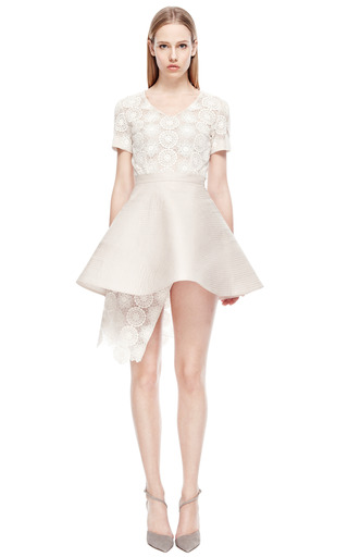 Ivory Quilted Silk Skirt by RUBAN Now Available on Moda Operandi