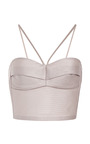 Light Grey Quilted Silk Top by RUBAN Now Available on Moda Operandi
