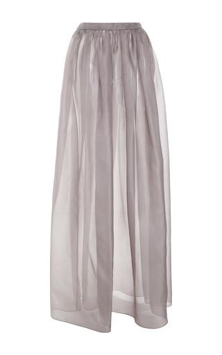 Medium ruban dark grey grey silk maxi skirt