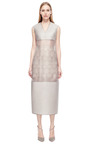 Grey Organza Dress With Lace Skirt Underlay by RUBAN for Preorder on Moda Operandi