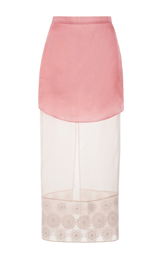 Layered Silk Skirt With Lace Hem by RUBAN for Preorder on Moda Operandi