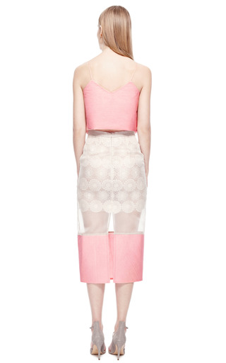 Sheer Cotton Lace And Quilted Silk Skirt by RUBAN for Preorder on Moda Operandi
