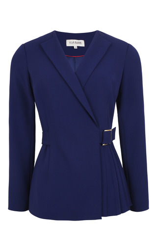 Medium a la russe blue tonal collar wrap front jacket