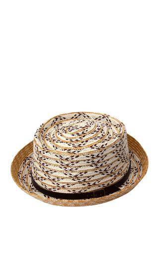 Medium a la russe brown straw rolled brim fedora hat