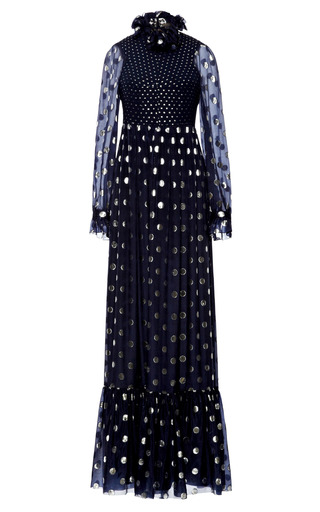 Medium vilshenko navy polka dot silk lurex lara dress