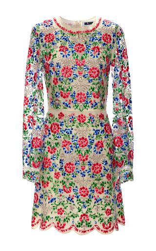 Medium vilshenko white multi colored embroidery flower dress on organza