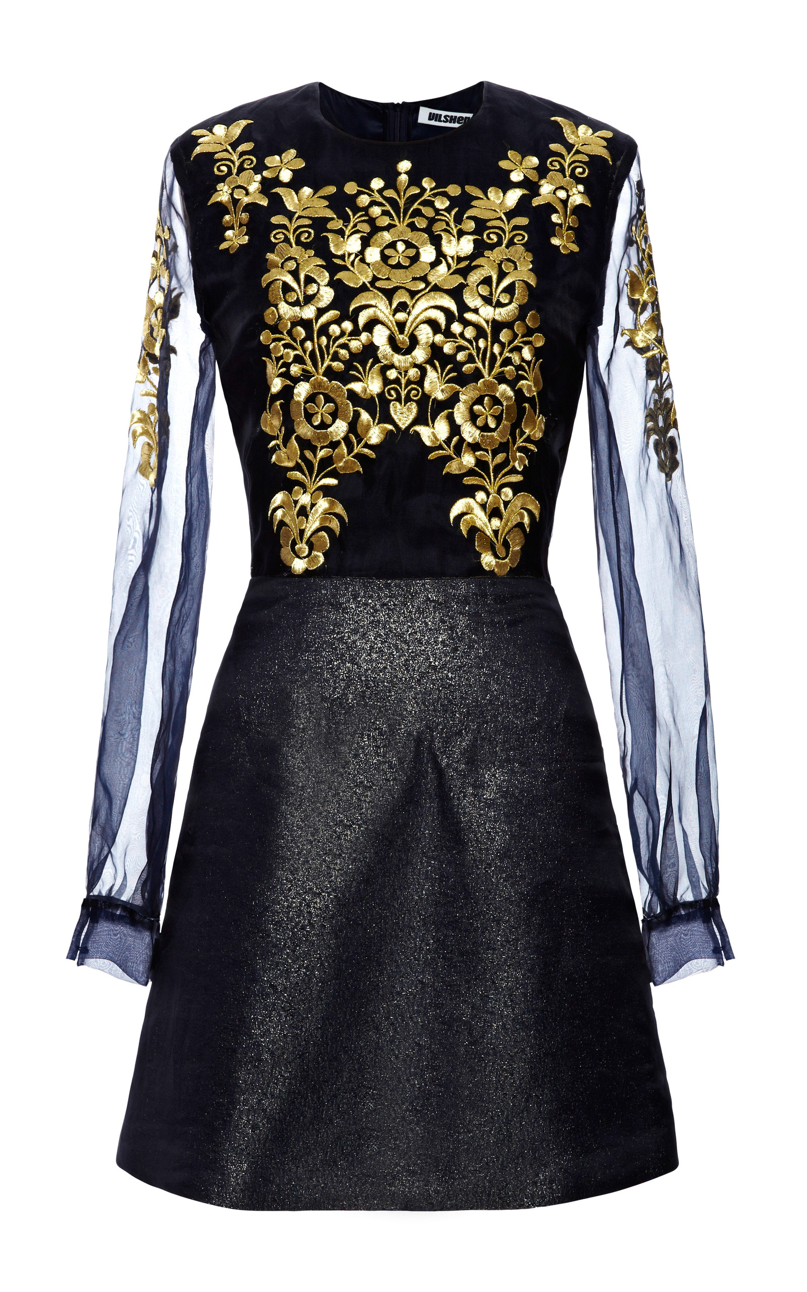 Organza dress with gold embroidery by vilshenko moda