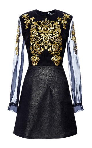 Organza Dress With Gold Embroidery by VILSHENKO for Preorder on Moda Operandi