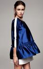 Cobalt Blouse With Ruffled Waist by KALMANOVICH for Preorder on Moda Operandi