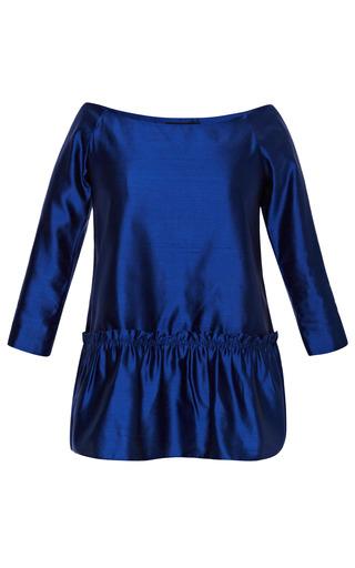 Medium kalmanovich white cobalt blouse with ruffled waist