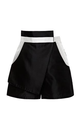 Medium kalmanovich white black and white asymmetric skirted shorts