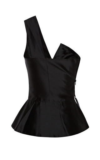 Fitted Black Blouse With Shoulder Strap by KALMANOVICH for Preorder on Moda Operandi