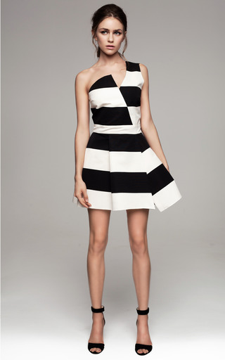 Asymmetric Black And White Striped Dress by KALMANOVICH for Preorder on Moda Operandi