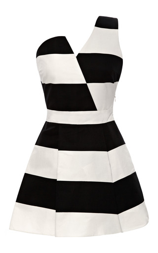 Medium kalmanovich white asymmetric black and white striped dress