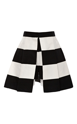 Medium kalmanovich white black and white striped skirted shorts