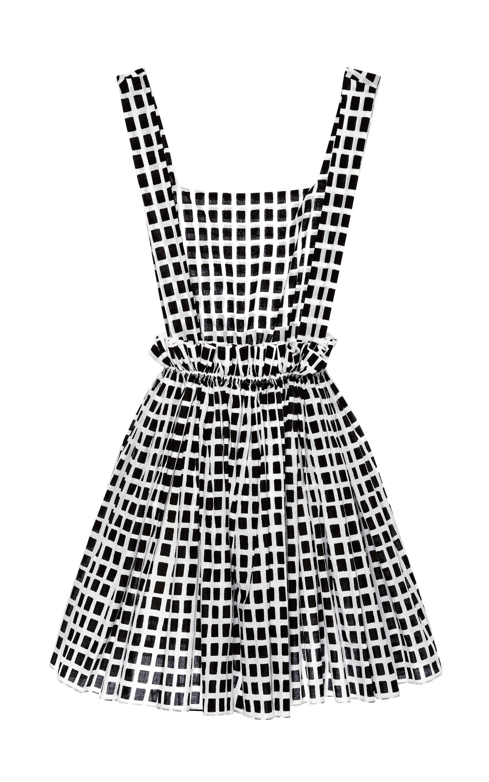 Black And White Checkered Dress With Cinched Waist by  Moda Operandi