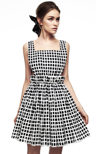 Black And White Checkered Dress With Cinched Waist by KALMANOVICH Now Available on Moda Operandi