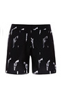 Black Shorts With White Revolver Print by KALMANOVICH for Preorder on Moda Operandi