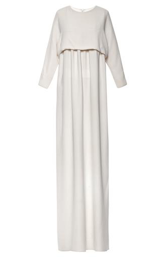 Medium kalmanovich white long sleeved floor length white dress