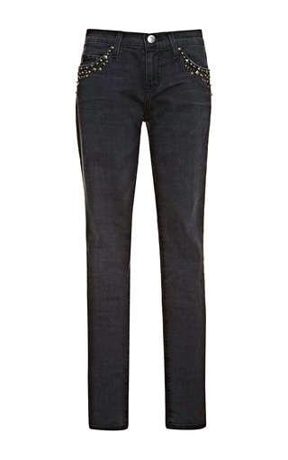 Medium current elliott black the ankle skinny embellished pocket jeans