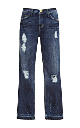 Medium current elliott blue the cropped straight distressed jeans