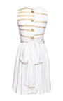 White And Gold Wheat Print Cocktail Dress by ALEXANDER TEREKHOV for Preorder on Moda Operandi