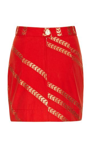 Red And Gold Wheat Print Skirt by ALEXANDER TEREKHOV for Preorder on Moda Operandi