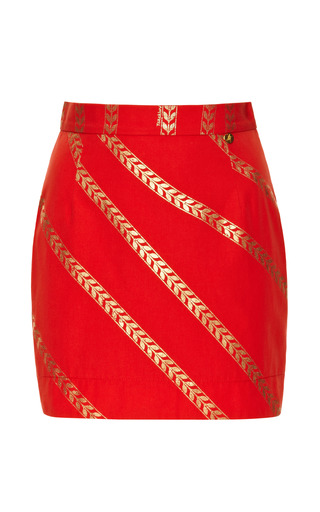 Red And Gold Wheat Print Skirt by ALEXANDER TEREKHOV for Preorder on Moda Operandi