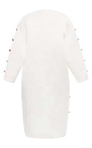 Embellished Gardenia White Flower Coat In Gardenia White by ESME VIE for Preorder on Moda Operandi