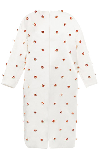 Medium esme vie white embellished gardenia white flower coat in gardenia white