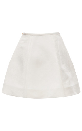 Gardenia White Panel Gore Mini Skirt by ESME VIE for Preorder on Moda Operandi