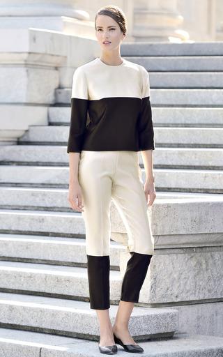 Black And White Striped Cigarette Trousers by ESME VIE for Preorder on Moda Operandi