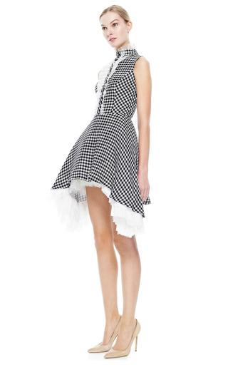 Gingham Dress With Side Draped Skirt by NATASHA ZINKO for Preorder on Moda Operandi